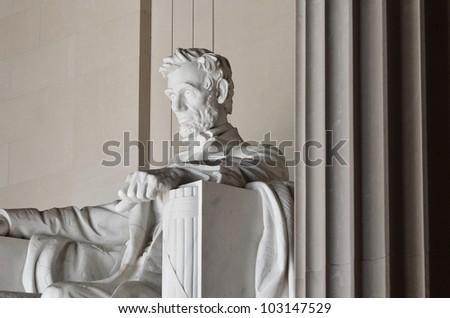 Statue of Abraham Lincoln in the Lincoln Memorial Washington DC USA - stock photo