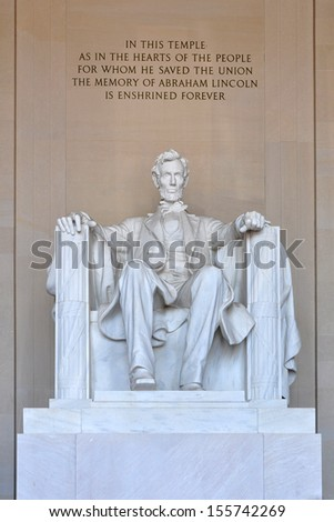 Statue of Abraham Lincoln inside Lincoln Memorial in Washington, DC, USA.