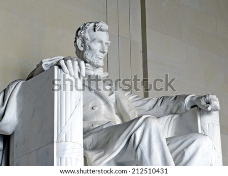 Statue of Abraham Lincoln, Lincoln Memorial, Washington DC, USA - stock photo