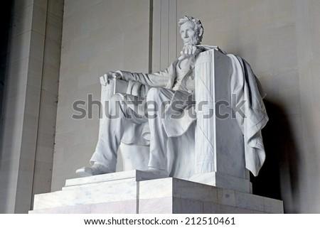 Statue of Abraham Lincoln, Lincoln Memorial, Washington DC, USA - stock photo