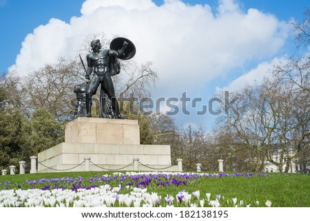 Statue of Achilles in Hyde Park, London, UK, dedicated to the Duke of Wellington and forged with the bronze from captured cannons in campaigns. - stock photo