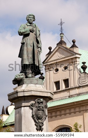 Statue of Adam Mickiewicz in Warsaw in Poland. Famous Poet and Patriot - stock photo