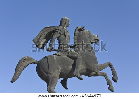 Statue of Alexander the Great at Thessaloniki city in Greece - stock photo