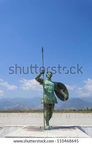 Statue of Alexander the Great in Greece - stock photo
