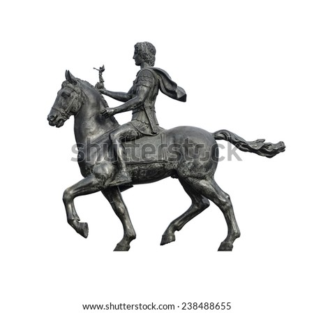 Statue of Alexander The Great Riding on His Horse Isolated on White Background - stock photo