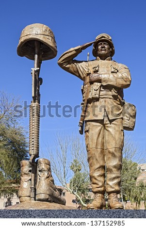 Statue of American Soldier at Enduring Freedom Memorial at State Capitol of Arizona in Phoenix - stock photo