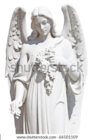 Statue of an angel with flowers isolated on white with clipping path - stock photo