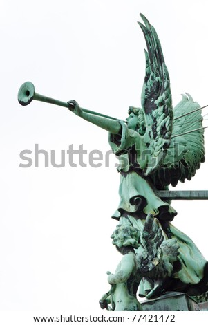 Statue of an angel with trumpet at the Berliner Dom (Berlin Cathedral), Berlin, Germany, Europe