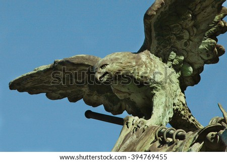 statue of an eagle as a symbol of eternal glory and heroism (close-up) - stock photo