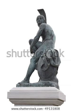 Statue of ancient Greek semi-mythical hero Theseus (founder-king of Athens) in Athens, Greece. - stock photo