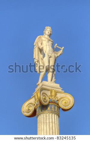 statue of Apollo , academy of athens, greece - stock photo