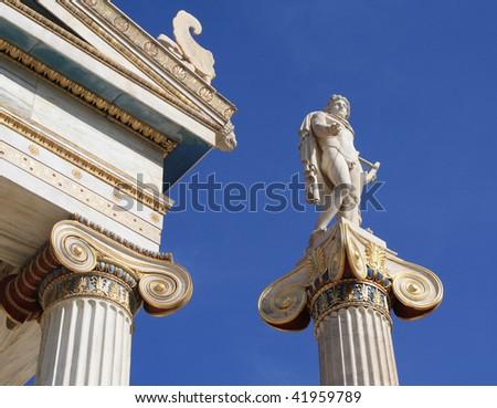 Statue of Apollo next to Academy of Athens, Greece - stock photo