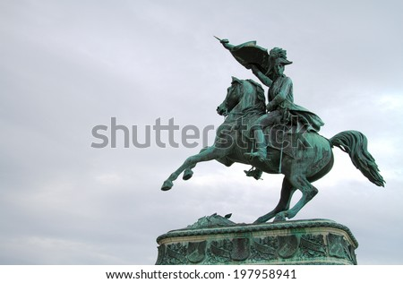 Statue of Archduke Charles of Austria in Vienna in front of Hofburg - stock photo