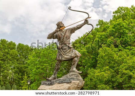 Statue of Aresh Kamangir the Archer in the Niavaran Palace Complex garden, is a heroic archer-figure of Iranian oral tradition and folklore. Tehran, Iran.
