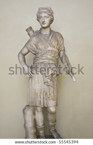 Statue of Artemis (Diana) - the Greek Goddess of Hunt - stock photo