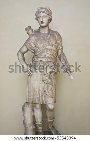 Statue of Artemis (Diana) - the Greek Goddess of Hunt - stock photo
