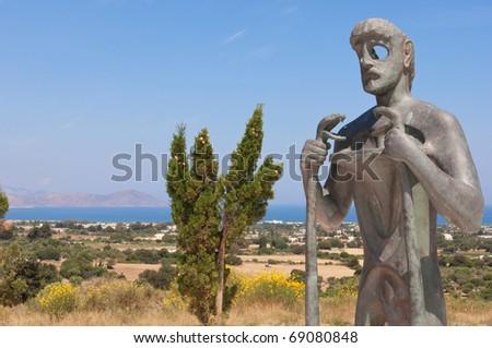 Statue of Asclepius, Kos, Greece - stock photo