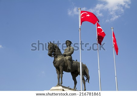 Statue of Ataturk, the founder of modern Turkey, Ulus Ankara - stock photo