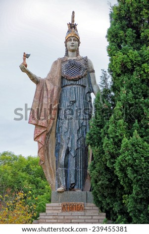 Statue of Athena Nike in Valencia, Spain - stock photo