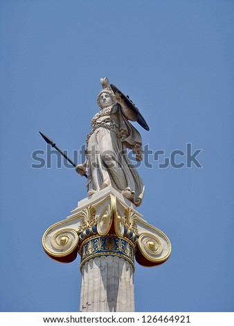 Statue of Athena the defender. Academy of Athens. - stock photo