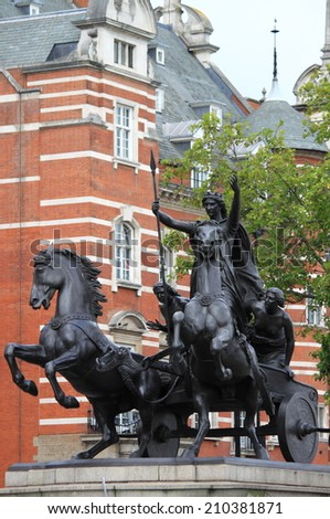 Statue of Boudicca at Westminster Bridge in London, UK - stock photo