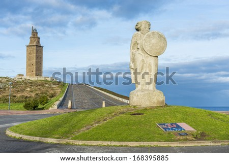 Statue of Breogan, the mythical Celtic king from Galicia and mythological father of the Galician nation located near the Tower of Hercules in A Coruna, Spain. - stock photo