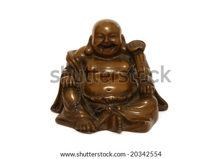 statue of budda isolated on white background - stock photo