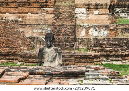 Statue of Buddha at Wat Mahatat, Ayutthaya, Thailand (temple)  - stock photo