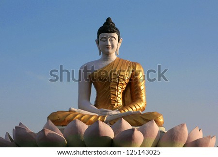 Statue of buddha in bodh gaya - stock photo