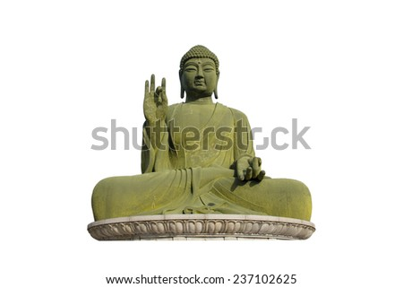 Statue of Buddha isolated on white a background - stock photo