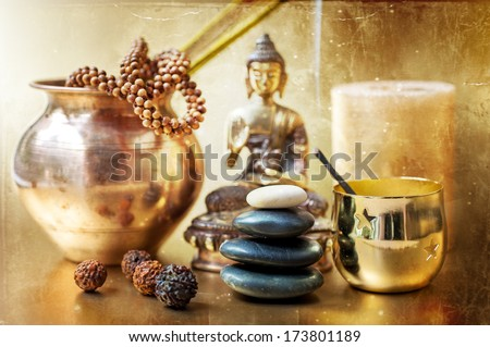 Statue of Buddha, zen stones, incense.Concept of meditation - stock photo