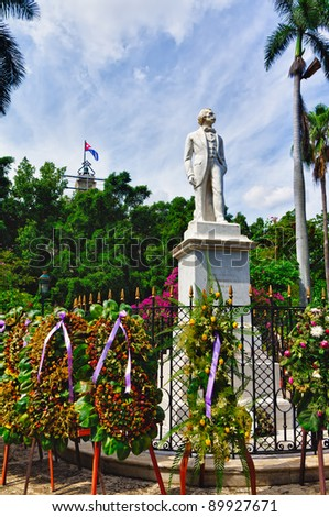 Statue of Carlos Manuel De Cespedes, Park in Havana, Cuba - stock photo