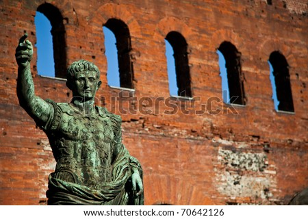 Statue of Cesare Augustus in Torino - Italy: concept of leadership - stock photo