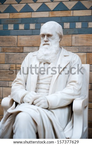 Statue of Charles Darwin in Natural History Museum. London, United Kingdom. - stock photo