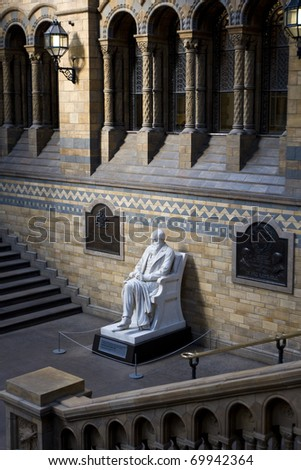 Statue of Charles Darwin, Natural History Museum, London. - stock photo
