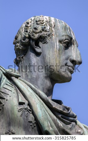 Statue of Charles III of Bourbon, the founding father of the Bourbon dynasty in Naples, Italy sculpted by Antonio Canova in 1819.