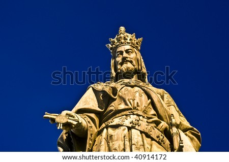 statue of Charles V in Prague at night - stock photo