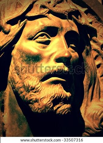 Statue of Christ at La Recoleta Cemetery - stock photo