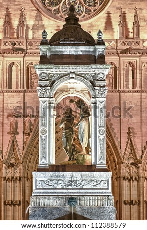 Statue of Christ Baptizing at the Place Sain Jean in Lyon, France. - stock photo
