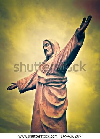 Statue of Christ - Cusco Peru - stock photo