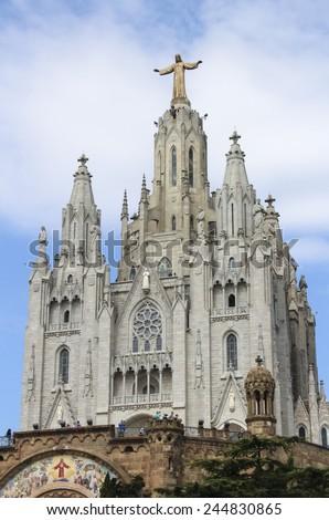 Statue of Christ on Mount Tibidabo, Barcelona - stock photo