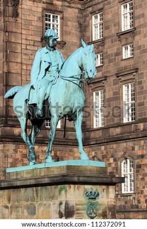 Statue of Christian IX, King of Denmark (1863-1906), in front of Christiansborg