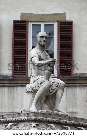 Statue of Commander in Saint Lawrence square in Florence, Italy