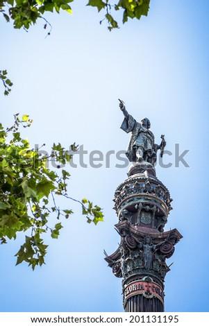 Statue of Cristobal Colon in Barcelona. - stock photo