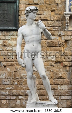 Statue of David from Michelangelo in Florence, Italy - stock photo