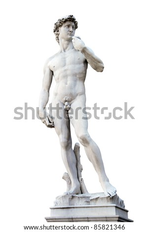 Statue of David isolated over white. Copy of Michelanegelo's original. Piazza signoria. Florence, Italy - stock photo