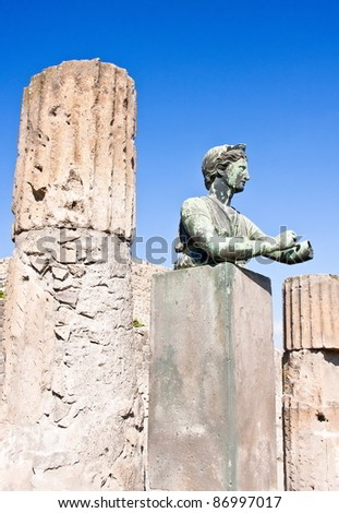 Statue of Diana with columns in Pompeii - stock photo