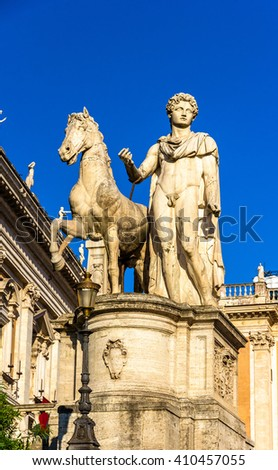 Statue of Dioscure on the Capitoline Hill, Rome, Italy - stock photo