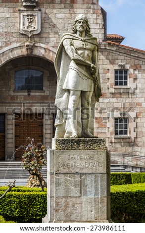 Statue of Don Pelayo, victor of battle at Covadonga and first King of Asturias - stock photo