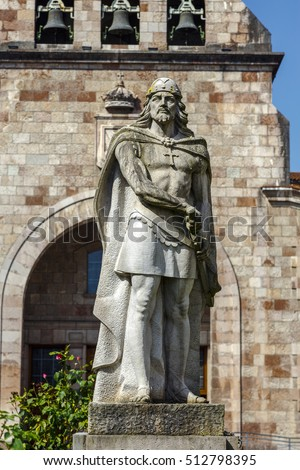 Statue of Don Pelayo, victor of battle at Covadonga and first King of Asturias